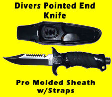 Scuba Dive Knife Pointed Stainless Steel Butt End Blade line cutter Sharp Serate