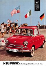 NSU PRINZ GERMAN AUTOMOBILE POSTCARD c1960s BEST DESIGNED OF ALL *NOT A REPRINT*