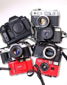 Job Lot Of Vintage Film Cameras. Nikon FE, Contax, Canon, Yashica, Konica