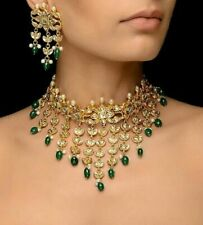 New Latest Kundan Earrings Gold Plated Green Beads Fashion Necklace Jewelry Set