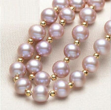 18 inches 7-8MM NATURAL SOUTH SEA GENUINE PURPLE PEARL NECKLACE