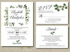 100 Watercolor Greenery Wedding Invitations Suite Modern Rustic with Envelopes