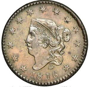 1816 1c Coronet Head Large cent  N-2 Cent, MS64 Brown NGC CAC Super nice! 1816 1