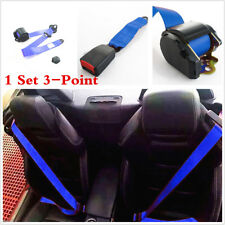 Blue Retractable 3 Point Vehicle Auto Car Safety Seat Belt Lap & Diagonal Belt