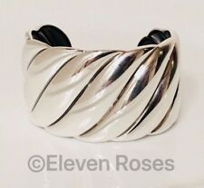 David Yurman Wide Sculpted Cable Cuff Bracelet DY 925 Sterling Silver