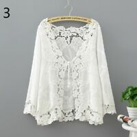 Lady Lace Crochet Knitted Cardigan Summer Beach Casual Sunscreen Coat Jacket Top