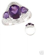 3.20 cts Amethyst & Diamond Accent White Gold Ring