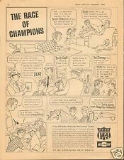 1961 Chevrolet Soap Box Derby Family Race of Champions LARGE Cartoon Print Ad