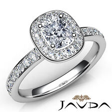 Stunning Cushion Diamond Engagement GIA H VVS2 Halo Pre-Set Ring Platinum 0.87Ct