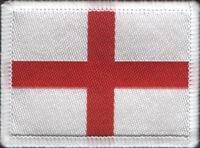 England Flag St George's Woven Badge, Patch 6cm x 4.5cm