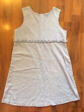 Girls Size 12 Kellys Kids Blue Linen Blend Lined Dress Sleeveless