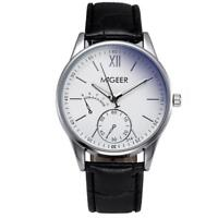 Classic Unisex Geneva Watches Leather Strap Dial Analog Quartz Wrist Watch Gift