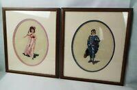 Vintage set of 2 Mahogany FRAMED NEEDLEPOINT Petit Point PINKIE and BLUE BOY