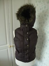 GIRLS NEXT BROWN  FAUX FUR HOODED GILET BODYWARMER SIZE 14 REMOVABLE HOOD
