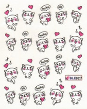 Nail art ongles stickers décalcomanie scrapboking: petits chats coeurs