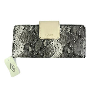 Fossil Madison Wallet Gray Leather Python Snake Clutch Organizer Brand New