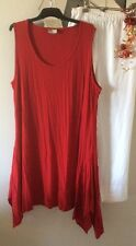 TS TAKING SHAPE Christmas Red Crushed Stretch Sleeveless Tunic Dress Top S