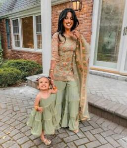 Mother Daughter Combo Patiyala Palazzo Kids Frock Salwar Kameez Pakistani Suit
