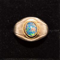 9 ct 375 solid Gold Harlequin  Opal Men's opal 10mm