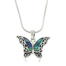 Butterfly Necklace Pendant Charm Filigree Sea Life ABALONE SHELL SILVER Jewelry