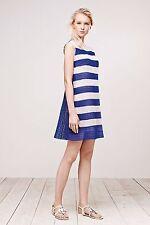 NWT TADASHI SHOJI Blue White Striped Micro Floral LACE Tunic Sheath Dress 12
