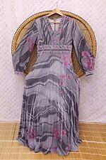 Vintage Silver floral disco grecian pleated 70s metallic gypsy maxi dress M boho