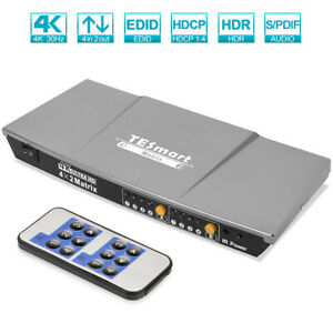 Ultra HD 4K 3D 4x2 HDMI Matrix Switch 4 in 2 out HDMI Selector Splitter Hub gray