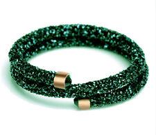 Dark Emerald Green Crystal Stardust Bracelet Cuff Bangle Two Rows BB182