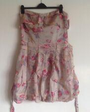 JOE BROWNS Mint Pale Green Pink Floral Bandeau Strapless Dress Size 16 BNWT