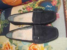NUOVO mai indossato Donna UGG Pantofole UK5 nero con fodera in pelle di pecora