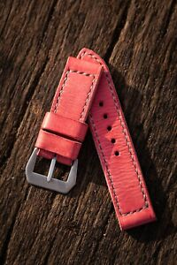 Handmade vintage pink leather strap for Panerai with GPF buckle 27,26, 24,22mm