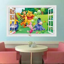 Removable 3D Window Decal WINNIE THE POOH Friends Wall Sticker Nursery Kids Room
