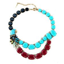 New Copacabana Parrot Statement Necklaces Designer Summer Navy Turquoise Magenta