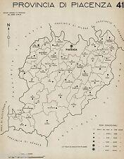 Provincia Piacenza: Tutti i Comuni 1938,Carta Topografica.Anno XVI Era Fascista