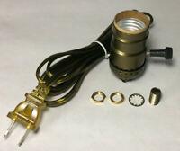 Vintage Table Lamp Rewiring Kit, Antique Brass 3-Way Socket, Antique Brass Cord