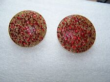 Vintage Womens Lucite Acrylic Red Gold Confetti Glitter Round Clip On Earrings
