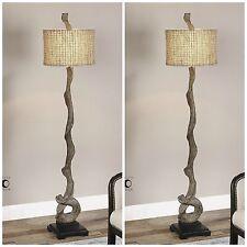 SET OF 2 VINTAGE WEATHERED DRIFTWOOD LOOK FLOOR LAMP NATURAL TWINE SHADE