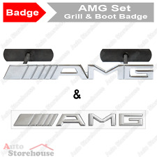 Mercedes amg grill & boot badge emblem [chrome] - c clk cls e g m ml s slk