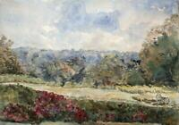 TREES IN LANDSCAPE Antique Watercolour Painting c1910 - 20TH CENTURY