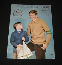 VINTAGE 1960s PATONS KNITTING BOOK #684 Boys Cardigans  Jumpers etc