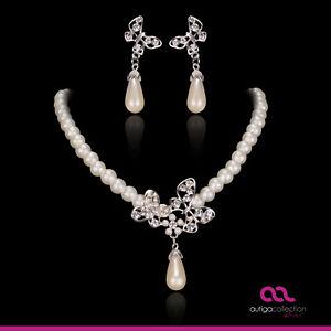 Brautschmuck Schmuckset Perlen Collier Kette Ohrringe Kristall Schmetterling