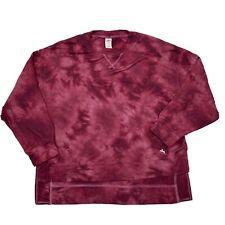 Joy Lab Burgundy Tie Dye Long Sleeve Oversized High Low Shirt Small S