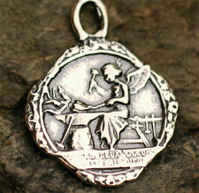 Angel at the Forge hammering Sacred and Immaculate Heart, Sterling Silver