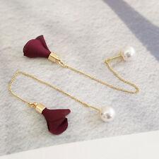 Women Fashion Gold Silver Plated Crystal Flower Drop Dangle Long Chain Earrings'