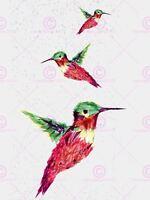 Painting Illustration Trio Polygon Hummingbirds Picture Canvas Art Print