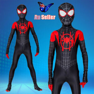 Kids Black Spiderman Costume Into the Spider-Verse Miles Morales Cosplay Gift AU