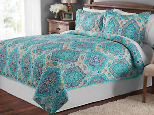 """Mainstays Green Multi-color Paisley FULL  / QUEEN Quilt Blanket 86"""" x 90"""""""