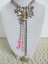 Auth Betsey Johnson Vintage Nautical Ancho Shell Seahorse Charm Chain Necklace