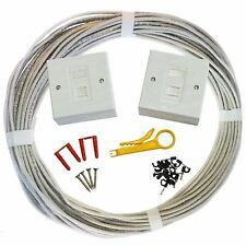 15m Cat6 Internal Socket to Socket Outlet Extension Network Kit Face Plate Box