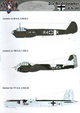 OWL DECALS OWL48005 1:48 Die nachtbomber-JU 88/Ju 188/He 177 nightbombers